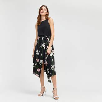 Warehouse Lily Print Wrap Midi Skirt