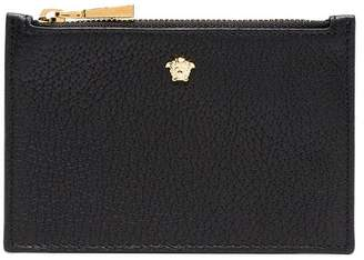 Versace black Medusa head leather zip wallet