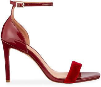 Halston Myra Faux-Patent & Velvet Ankle-Strap Sandals