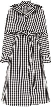 Paskal Gingham belted silk coat dress