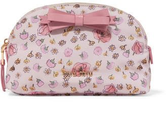 Miu Miu Leather-trimmed Floral-print Canvas Cosmetics Case - Pink