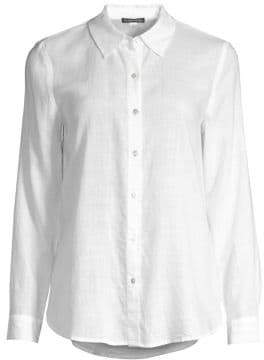 Eileen Fisher Women's Collared Button-Down Shirt - White - Size XL