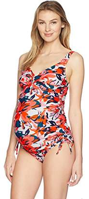 Maternal America Women's Ruched 2-Piece Maternity Tankini,L