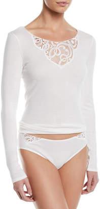 Hanro Ella Long-Sleeve Lace-Inset Shirt