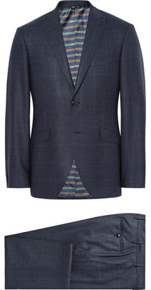Etro Blue Slim-fit Prince Of Wales Checked Wool Suit