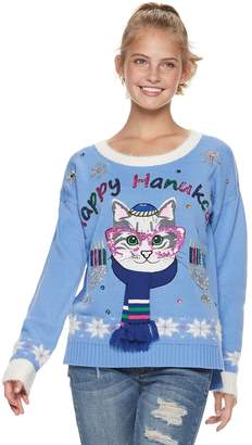 "It's Our Time Its Our Time Juniors' Happy Hanukcat"" Holiday Sweater"