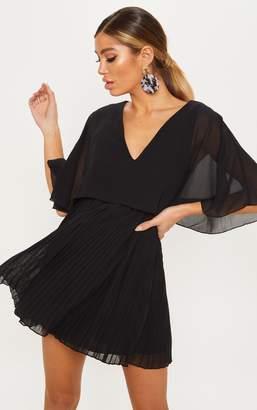 PrettyLittleThing Black Cape Pleated Detail Skater Dress