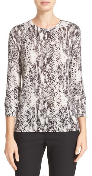 EquipmentWomen's Equipment Ondine Zip Shoulder Print Silk & Cashmere Sweater