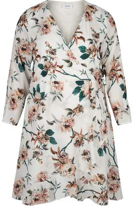 Zizzi Floral Print Wrapover Dress