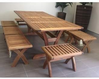 Atlanti 9 Piece Acacia Short Benches Dining Set