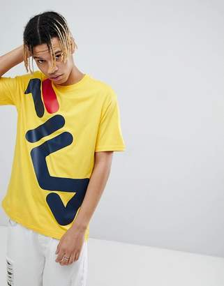 Fila Black Line T-Shirt With Large Logo In Yellow
