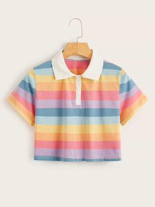 Shein Rainbow Stripe Crop Polo Tee