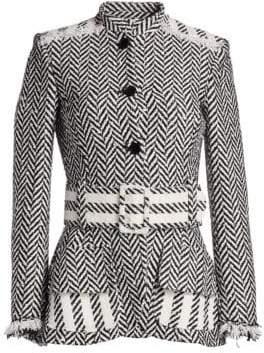 Oscar de la Renta Herringbone Belted Jacket