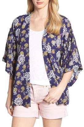 Bobeau Ruffle Sleeve Printed Kimono