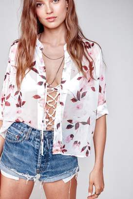 Flynn Skye Get Away Blouse - Scattered Roses Chiffon