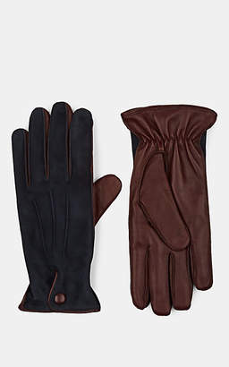 Barneys New York Men's Cashmere-Lined Suede & Leather Gloves - Navy