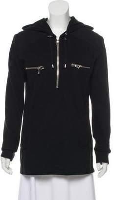 Balmain Hooded Half-Zip Sweater