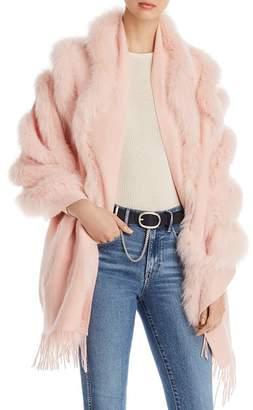 Maximilian Furs Fox Fur-Trim Cashmere Stole
