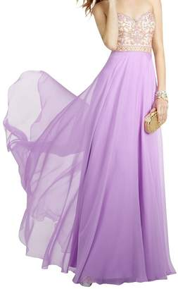 Charm Bridal Strapless Women Evening Prom Dress Bridesmaid Dress with Crystal