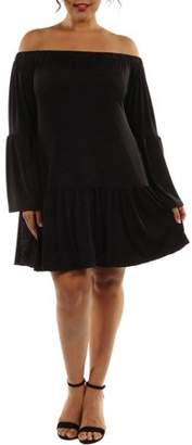 24/7 Comfort Apparel Women's Plus Stunning Off-The-Shoulder Romance Dress