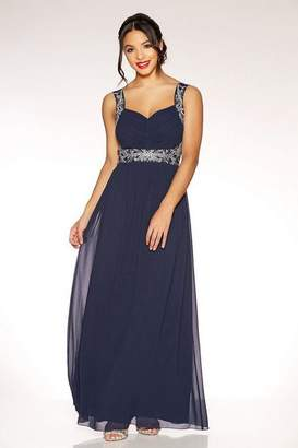 Quiz Navy And Silver Chiffon Embellished Maxi Dress