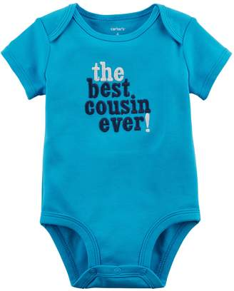"""Carter's Baby Boy The Best Cousin Ever!"""" Embroidered Graphic Bodysuit"""