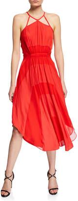 Ramy Brook Amara Halter Two-Tone A-Line Dress w/ Cutouts