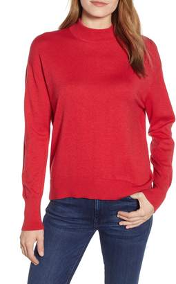 Velvet by Graham & Spencer Mock Neck Cotton & Cashmere Sweater