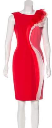 Paule Ka Ruffled-Accented Sheath Dress