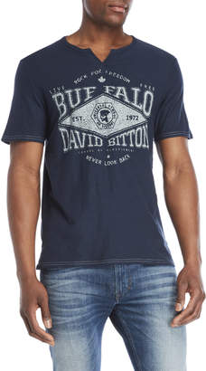 Buffalo David Bitton Graphic Split V-Neck Tee