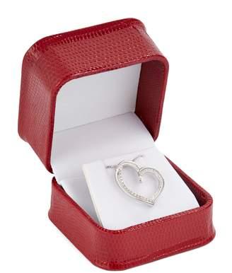 Fine Jewellery Sterling Silver And 0.125 CT. T.W. Diamond Double Heart Pendant Box Set