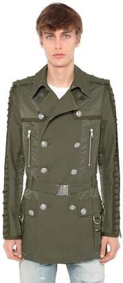Balmain Double Breasted Cotton Blend Trench Coat