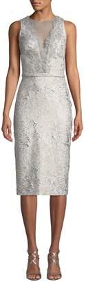 Theia Sleeveless Cloque Cocktail Dress w/ Metallic Lace