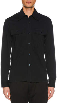 Tom Ford Men's Button-Up Long-Sleeve Cotton Jersey Shirt