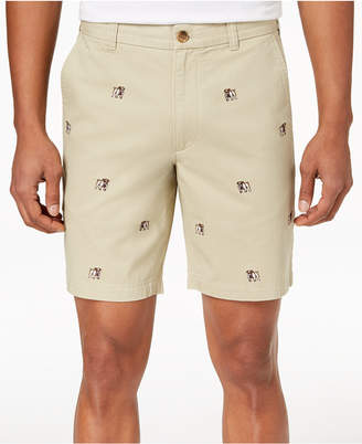 "Club Room Men's Bulldog Embroidered 9"" Shorts, Created for Macy's"