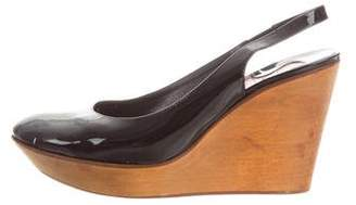 Chloé Patent Leather Round-Toe Wedges