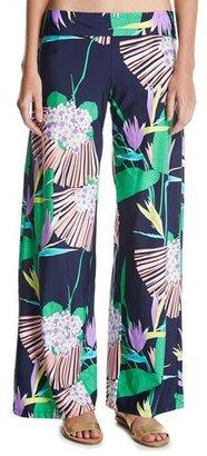 Trina Turk Midnight Paradise Coverup Wide Leg Pants, Blue-Multi $134 thestylecure.com