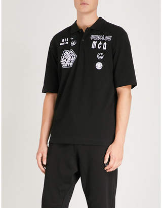 McQ Appliquéd cotton-piqué polo shirt