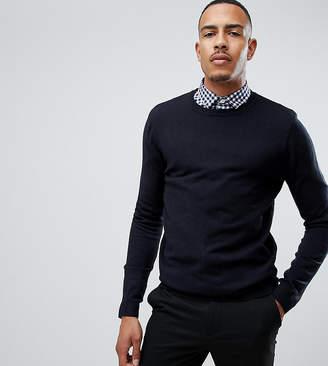 Asos Design DESIGN Tall crew sweater in navy