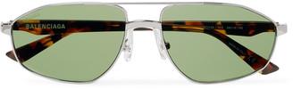 Balenciaga Aviator-Style Silver-Tone and Tortoiseshell Acetate Sunglasses - Men - Silver