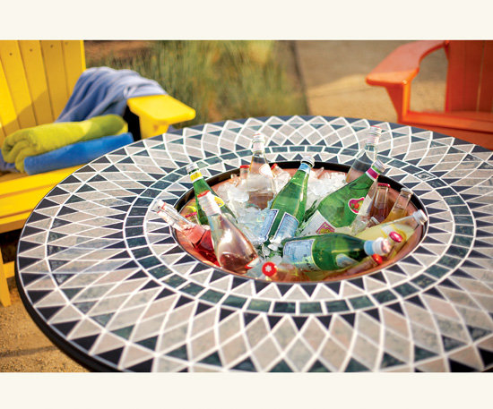 Mosaic Marble Fire Pit Patio Table