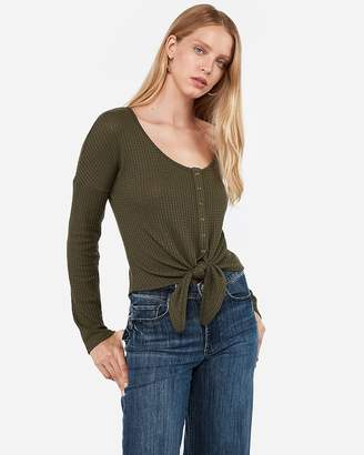 Express Soft Waffle Knit Snap Tie Front Top