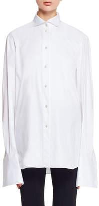 The Row Betta Button-Front Stretch-Poplin Shirt