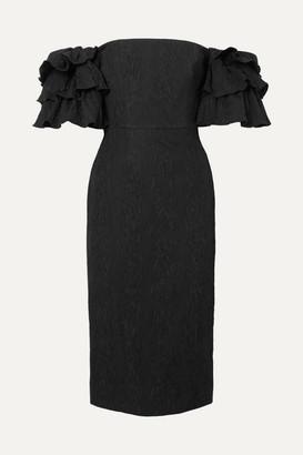 ALEXACHUNG Off-the Shoulder Ruffled Cloqué Dress - Black