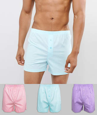 Asos DESIGN Woven Boxers In Pinks & Blue 3 Pack
