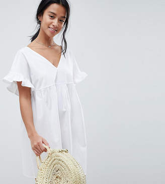 Asos DESIGN Petite v front v back mini cotton smock dress
