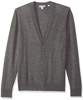 Lacoste Men's Classic Lambswool Cardigan Sweater w/Tonal Croc