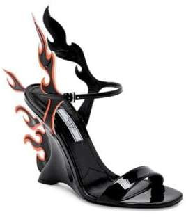 Prada Leather Flame Wedge Sandals