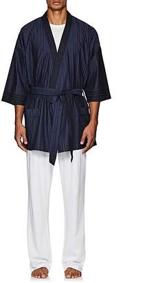Barneys New York MEN'S STRIPED COTTON BELTED ROBE - NAVY SIZE XL
