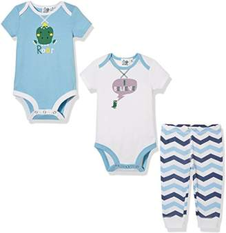 Silly Apples Baby Boys' 3-Piece Short-Sleeve Bodysuit and Pant Outfit Set